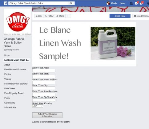 free Le Blanc Linen Wash Sample