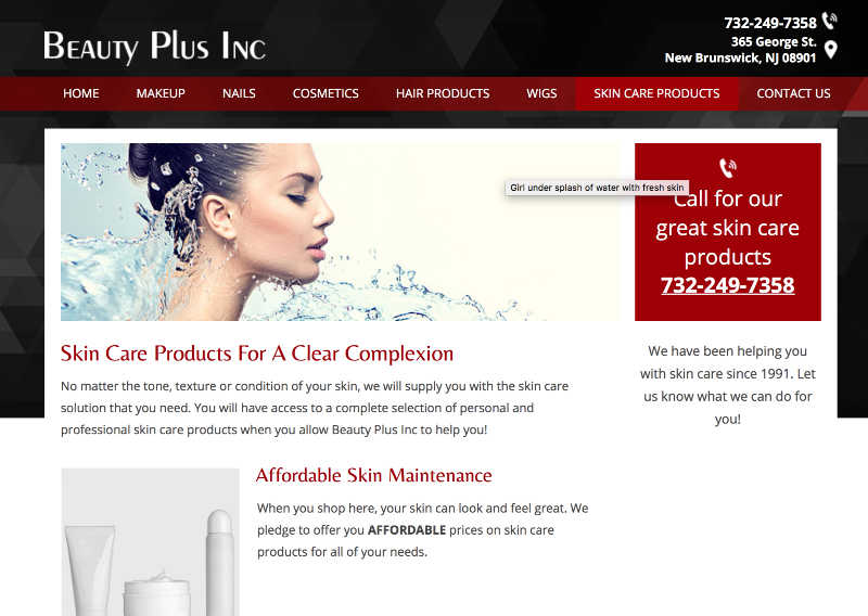 beauty plus inc product page